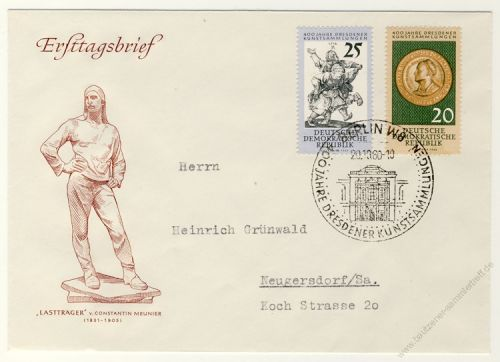 DDR 1960 FDC Mi-Nr. 791-792 SSt. 400 Jahre Dresdener Kunstsammlungen