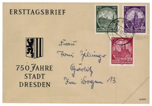 DDR 1956 FDC Mi-Nr. 524-526 ESt. 750 Jahre Dresden