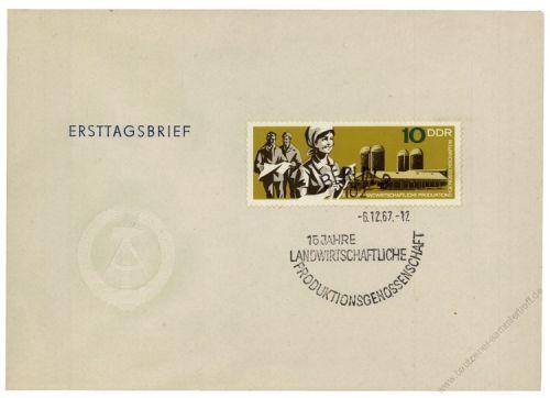 DDR 1967 FDC Mi-Nr. 1332 SSt. 15 Jahre landwirtschaftliche Produktionsgenossenschaften (LPG)
