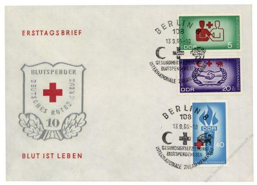 DDR 1966 FDC Mi-Nr. 1207-1209 SSt. Blutspendewesen, Hilfsorganisationen, Gesundheitserziehung