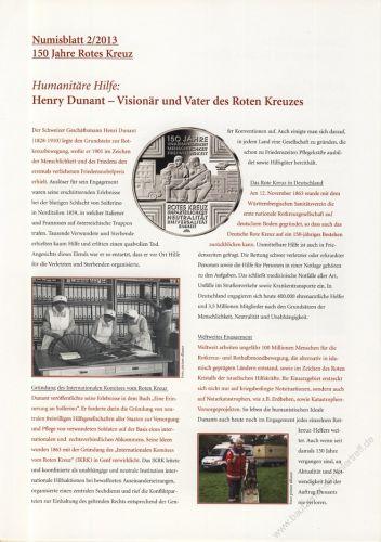 BRD 2013 Beschreibung für Numisblatt 2/2013 und 3/2013