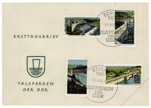 DDR 1968 FDC Mi-Nr. 1400-1403 SSt. Nach 1945 erbaute Talsperren