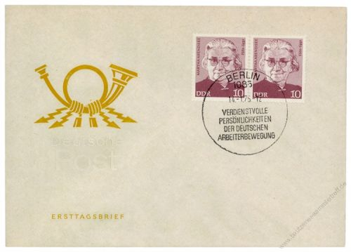DDR 1975 FDC Mi-Nr. 2012 waag. Paar SSt. Persönlichkeiten der deutschen Arbeiterbewegung (copy)