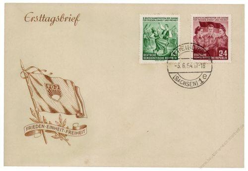 DDR 1954 FDC Mi-Nr. 428-429 ESt. Deutschlandtreffen der Jugend