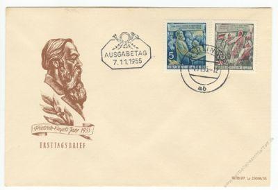 DDR 1955 FDC Mi-Nr. 485-490A ESt. 60. Todestag von Friedrich Engels