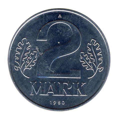 DDR 1980 J.1516 2 Mark Kursmünze st (Export)