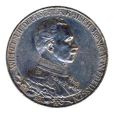 Preussen 1913 A J.112 3 Mark Wilhelm II. in Uniform (1888-1918) vz
