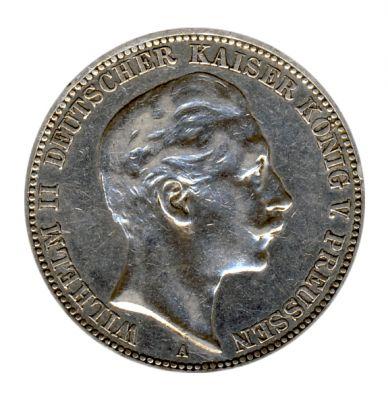 Preussen 1909 A J.103 3 Mark Wilhelm II. (1888-1918) ss