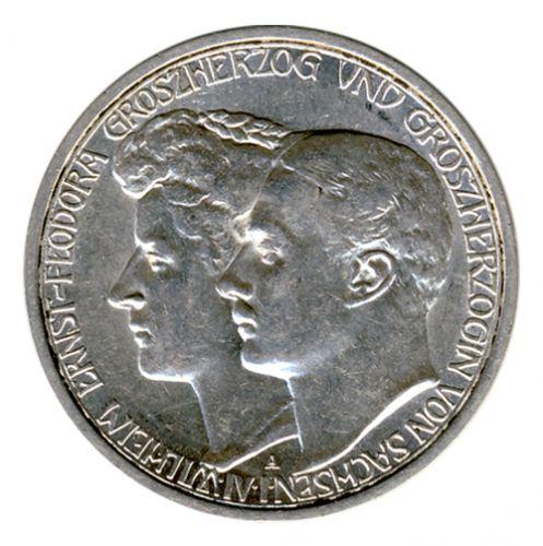 Sachsen-Weimar-Eisenach 1910 A J.162 3 Mark Wilhelm Ernst (1901-1918) zur zweiten Hochzeit st