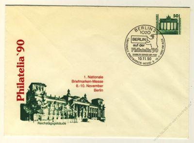 DDR Nr. PU017 D2/001d SSt. Philatelia '90 Reichstagsgebäude