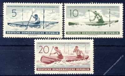 DDR 1961 Mi-Nr. 838-840 ** Weltmeisterschaften im Kanuslalom und Wildwasserrennen