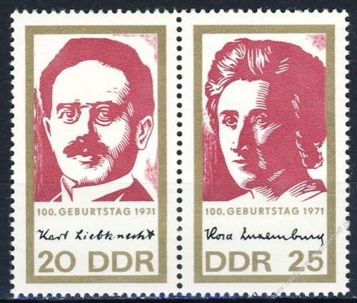 DDR 1971 Mi-Nr. 1650-1651 (ZD) ** 100. Geburtstag von Rosa Luxemburg und Karl Liebknecht