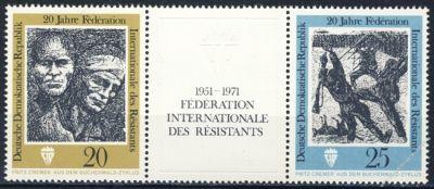 DDR 1971 Mi-Nr. 1680-1681 (ZD) ** 20 Jahre Internationale Förderation der Widerstandskämpfer
