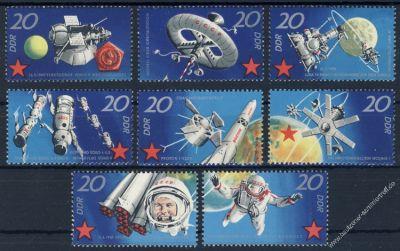 DDR 1971 Mi-Nr. 1636-1643 ** 10 Jahre bemannte sowjetische Weltraumflüge