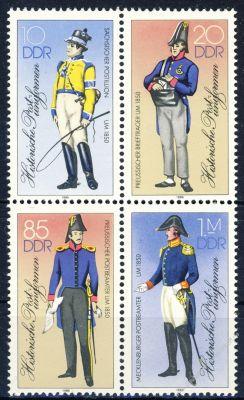 DDR 1986 Mi-Nr. 2997II-3000II (ZD) ** Historische Postuniformen
