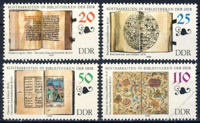 DDR 1990 Mi-Nr. 3340-3343 ** Kostbarkeiten in Bibliotheken der DDR