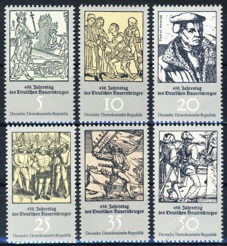 DDR 1975 Mi-Nr. 2013-2018 ** 450. Jahrestag des Deutschen Bauernkrieges