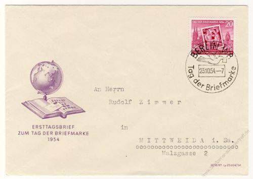 DDR 1954 FDC Mi-Nr. 445A SSt. Tag der Briefmarke