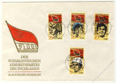 DDR 1971 FDC Mi-Nr. 1675-1678 ESt. Parteitag der Sozialistischen Einheitspartei Deutschlands