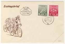DDR 1956 FDC Mi-Nr. 521a-522 ESt. Internationale Radfernfahrt für den Frieden - Stempelvariante