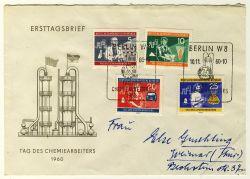 DDR 1960 FDC Mi-Nr. 800-803 SSt. Tag des Chemiearbeiters