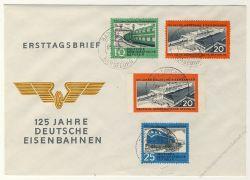 DDR 1960 FDC Mi-Nr. 804-806 mit Nr. 805B ESt. 125 Jahre Deutsche Eisenbahnen