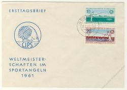 DDR 1961 FDC Mi-Nr. 841-842 ESt. Weltmeisterschaften im Angeln