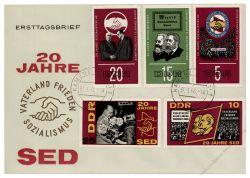 DDR 1966 FDC Mi-Nr. 1173-1177 ESt. 20 Jahre SED