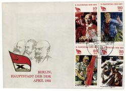 DDR 1981 FDC Mi-Nr. 2595-2598 SSt. Parteitag der Sozialistischen Einheitspartei Deutschlands