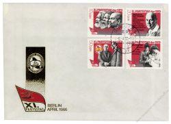 DDR 1986 FDC Mi-Nr. 3009-3012 ESt. Parteitag der Sozialistischen Einheitspartei Deutschlands