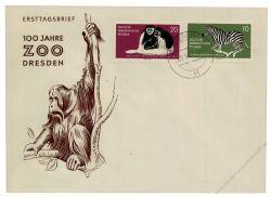 DDR 1961 FDC Mi-Nr. 825-826 ESt. 100 Jahre Dresdner Zoo