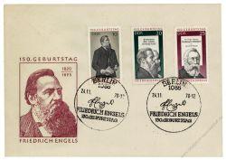 DDR 1970 FDC Mi-Nr. 1622-1624 SSt. 150. Geburtstag von Friedrich Engels