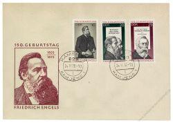 DDR 1970 FDC Mi-Nr. 1622-1624 ESt. 150. Geburtstag von Friedrich Engels