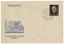 DDR 1954 FDC Mi-Nr. 430 ESt. 80. Todestag von Fritz Reuter