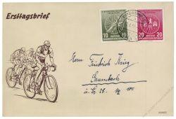 DDR 1956 FDC Mi-Nr. 521a-522 ESt. Internationale Radfernfahrt für den Frieden