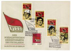 DDR 1971 FDC Mi-Nr. 1675-1678 und 1679 SSt. Parteitag der Sozialistischen Einheitspartei Deutschlands