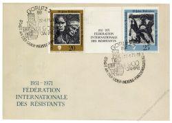 DDR 1971 FDC Mi-Nr. 1680-1681 (ZD) SSt. 20 Jahre Internationale Förderation der Widerstandskämpfer
