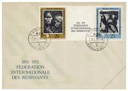DDR 1971 FDC Mi-Nr. 1680-1681 (ZD) ESt. 20 Jahre Internationale Förderation der Widerstandskämpfer