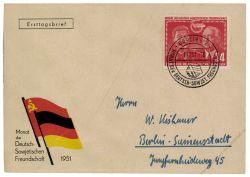DDR 1951 FDC Mi-Nr. 297 SSt. Deutsch-sowjetische Freundschaft