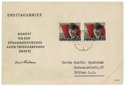 DDR 1956 FDC Mi-Nr. 520A waag. Paar ESt. 70. Geburtstag von Ernst Thälmann