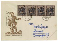 DDR 1957 FDC Mi-Nr. 600 mit PF I ESt. Tag der Briefmarke