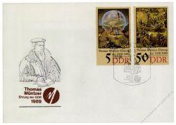 DDR 1989 FDC Mi-Nr. 3269-3273 - Mi-Nr. 3270 mit PF I - SSt. 500. Geburtstag von Thomas Müntzer
