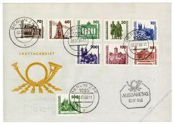 DDR 1990 FDC Mi-Nr. 3344-3352 - Mi-Nr. 3348 mit PF II - ESt. Bauwerke und Denkmäler