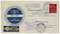 DDR 1957 Erinnerungsflug Leipzig-Dresden-Leipzig - Mi-Nr. 595