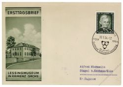 DDR 1954 FDC Mi-Nr. 423 SSt. 225. Geburtstag von Gotthold Ephraim Lessing