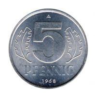 DDR 1968 J.1509 5 Pf Kursmünze vz-st