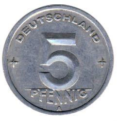 DDR 1949 J.1502 5 Pf Kursmünze Prägestätte: A ss
