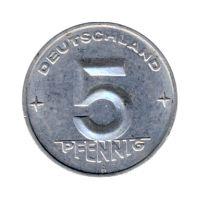 DDR 1952 J.1506 5 Pf Kursmünze Prägestätte: A vz