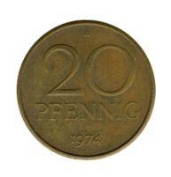 DDR 1974 J.1511b 20 Pf Kursmünze ss