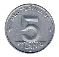 DDR 1950 J.1502 5 Pf Kursmünze Prägestätte: A vz